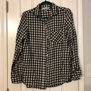Black and white buffalo check flannel shirt